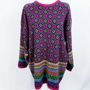 Hanna Andersson women's fair isle flower sweater L